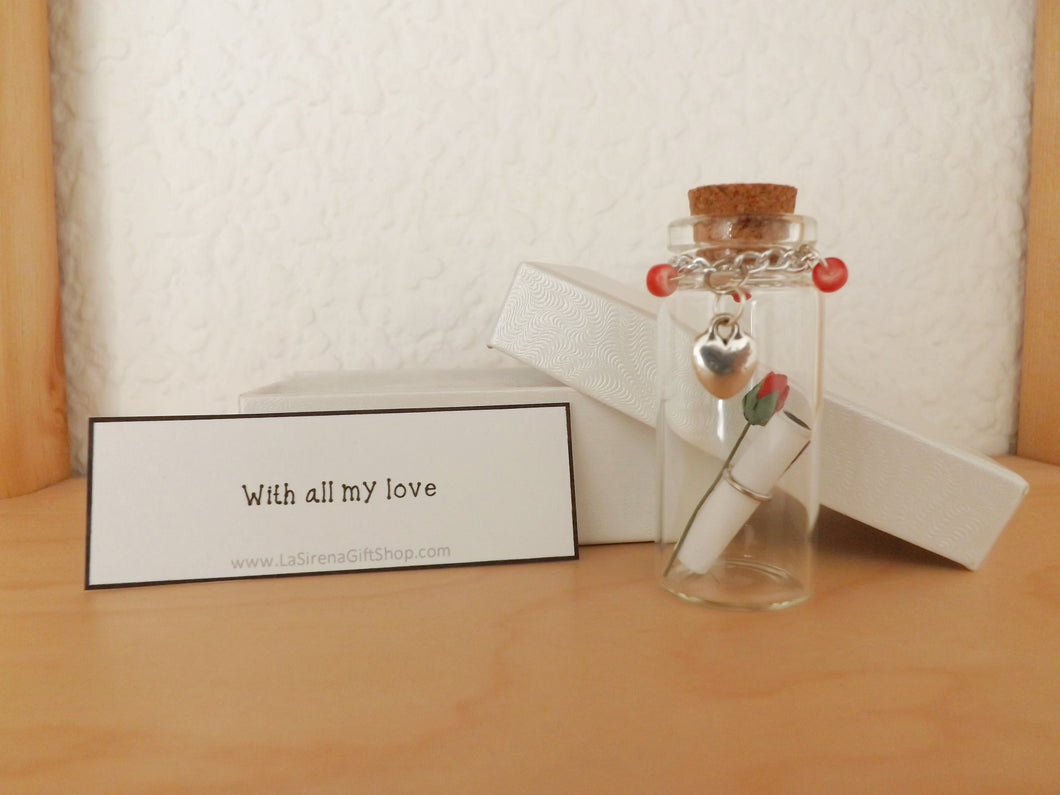 Message in a Bottle Love Heart Rose MTO