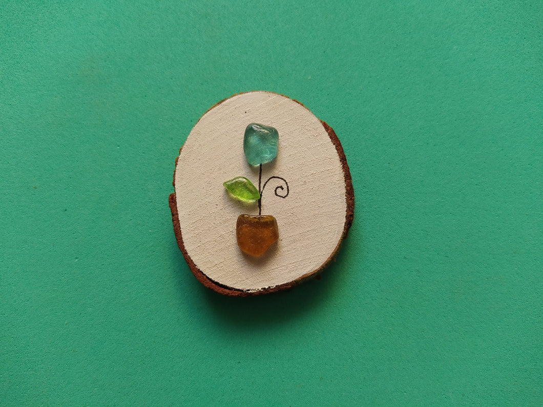 Aqua Blue Tulip Mini Wood Slice Magnet RTG