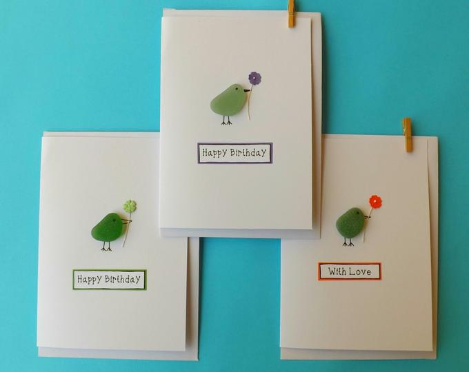 Birdies with a Flower Greetings Card MTO