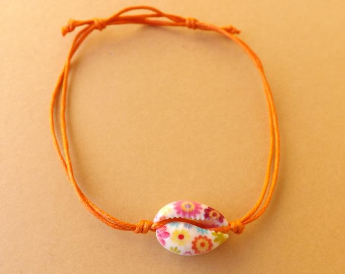 Shell Bracelet Orange Flowers MTO