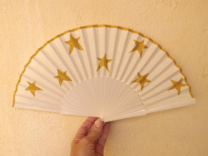 Glitter Stars Cream Gold Standard Fan MTO