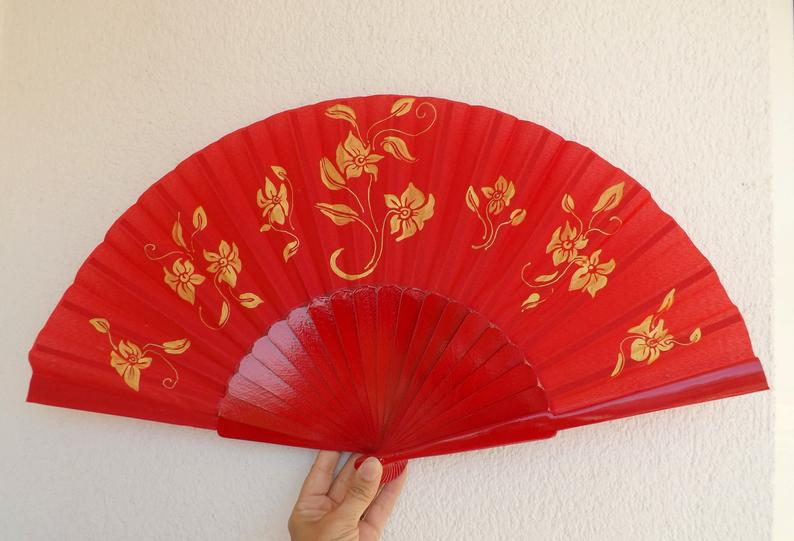 Red Gold Ornate Supersize XL Fan MTO