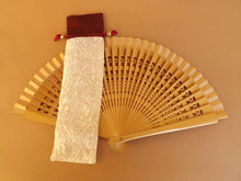 Load image into Gallery viewer, Red Ivory Satin Hand Fan Bag Small RTG