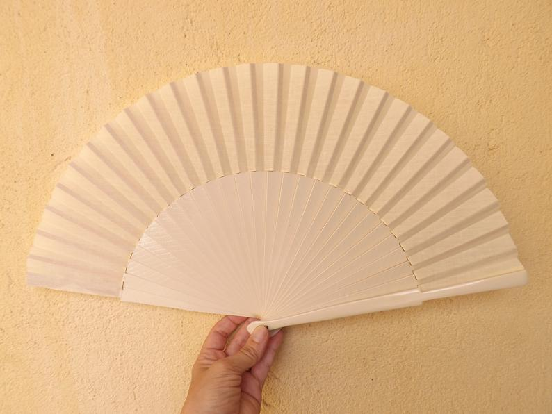 Cream Plain Large Fan MTO