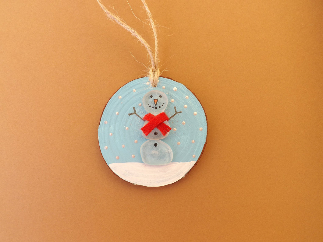 Snowman Personalized Christmas Wood Slice MTO