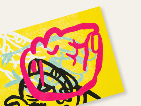 Postcard with layered drawings of pink, black, green, and white fists on a yellow background created by Loren Marple