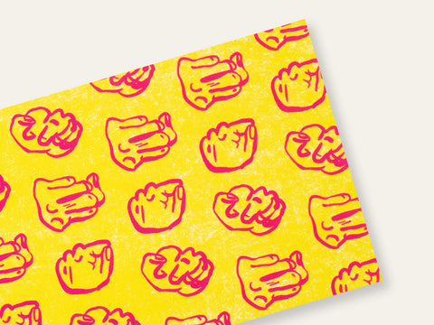 Front and back of a postcard with repeated drawings of pink fists on a yellow background created by Loren Marple