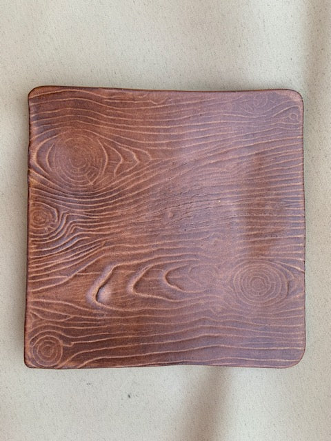 Small Square Plate With Wood Texture