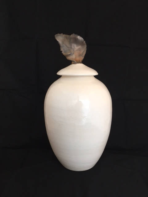 Urn in White and Gold--