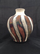 Load image into Gallery viewer, Raku Vase With White and Copper Stripes