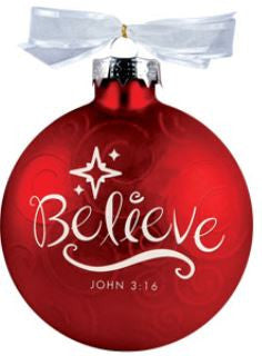 Christmas Swirls ornament - Believe