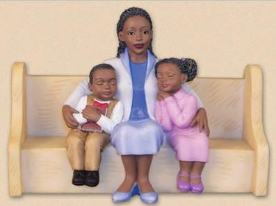 Church Pew - Mother Hugging Kids - figurine