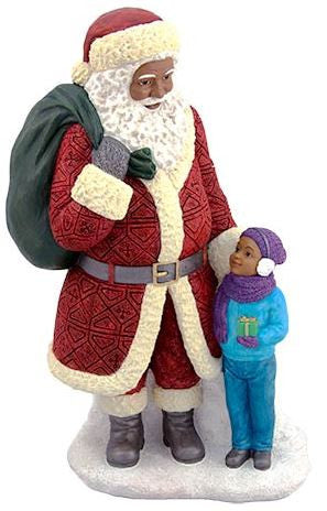 Santa Standing with boy (large) - resin figurine