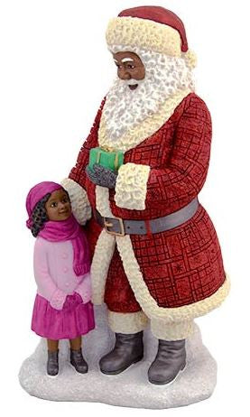 Santa Standing with girl (large) - resin figurine