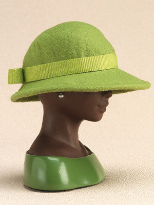 Harriet Rosebud - miniature hat - Green Felt