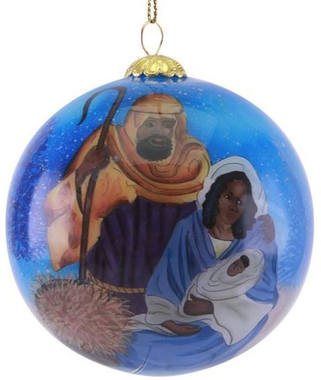Nativity Scene - glass Christmas ornament