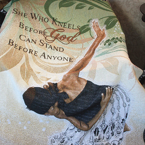 She Who Kneels - tapestry throw