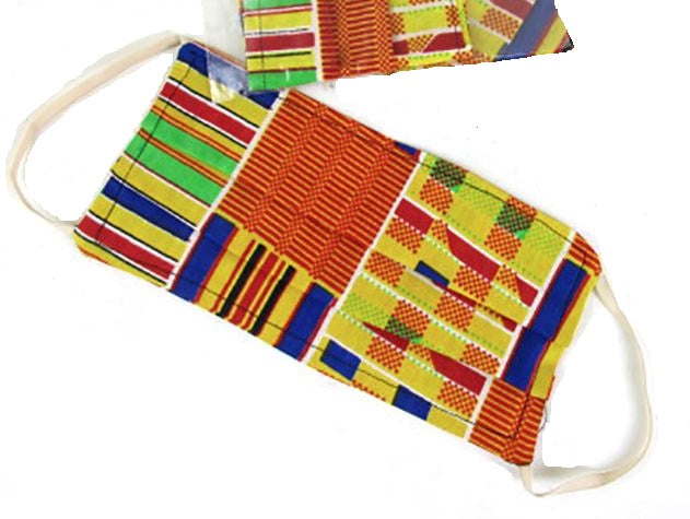 Face Mask - African Kente Cloth - yellow