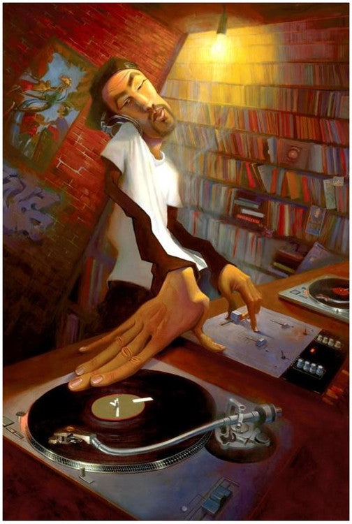 The DJ - 12x17 giclee on canvas - Justin Bua