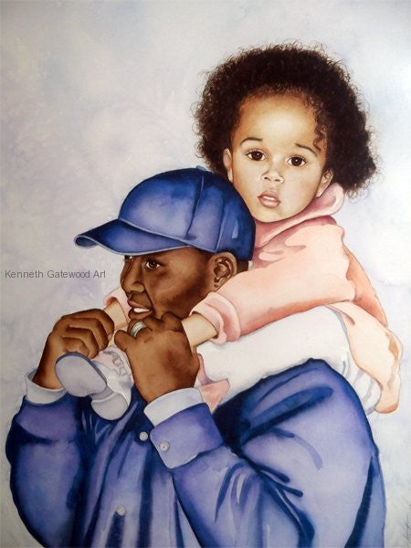 On Daddy's Shoulders - 21x17 - Limited Edition Print - Kenneth Gatewood