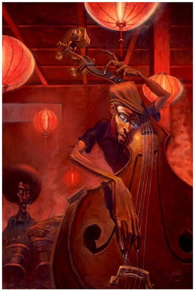 Bass Player 12x18 Giclee On Canvas Justin Bua It S A