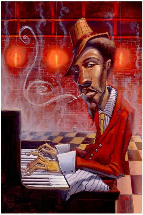 Jazz in Red Minor - 12x18 giclee on canvas - Justin Bua