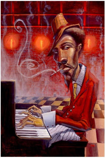 Jazz In Red Minor 12x18 Giclee On Canvas Justin Bua