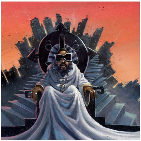 Afrika Bambaataa - 20x20 giclee on canvas - Justin Bua