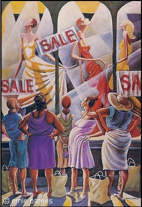 Window Wishing - 25x16 poster - Ernie Barnes