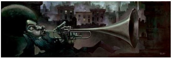 Trumpet Man - 20x7 giclee on canvas - Justin Bua