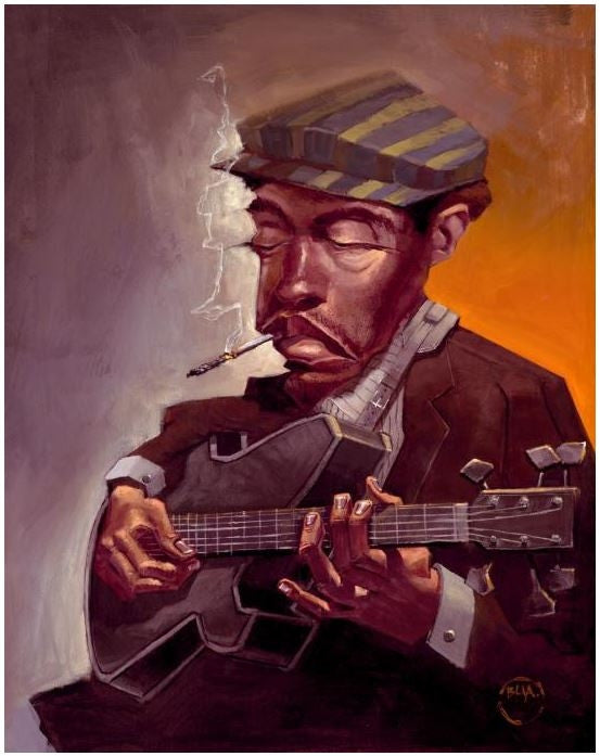 Blues Man - 14x18 giclee on canvas - Justin Bua