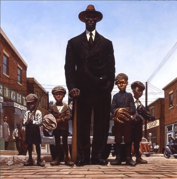 Willie Foster and Young Fans - 23x23 print - Kadir Nelson