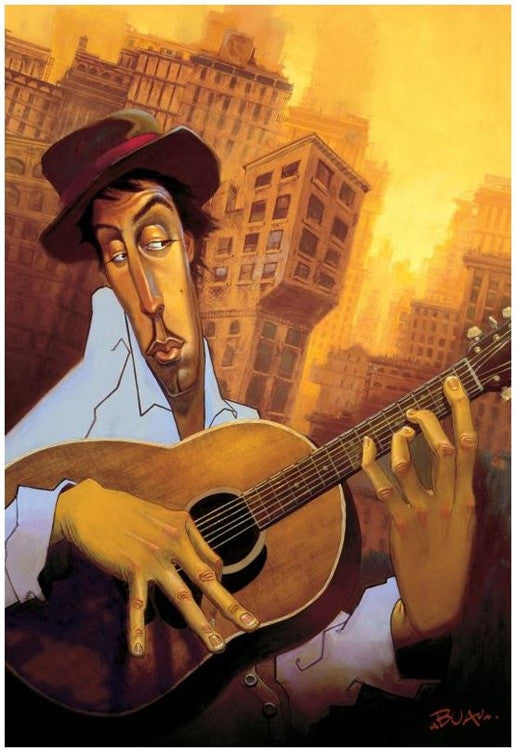 El Guitarrista - 12x18 giclee on canvas - Justin Bua