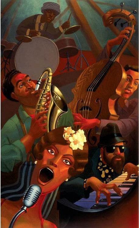 Jazz Quintet - 12x20 giclee on canvas - Justin Bua