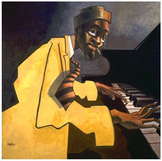 Piano Man I - 20x20 giclee on canvas - Justin Bua
