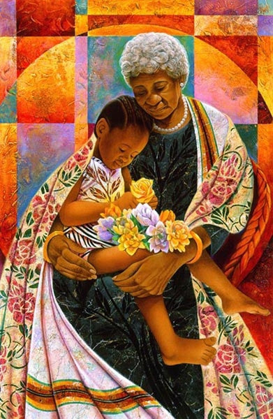 In Grandmas Hands - 28x19 limited edition print - Keith Mallett