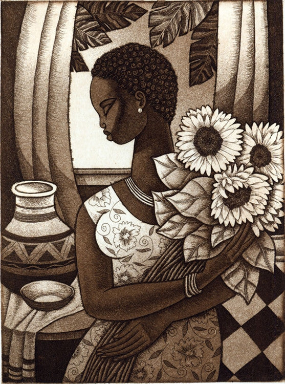 Sunflower - 11x15 limited edition etching - Keith Mallett