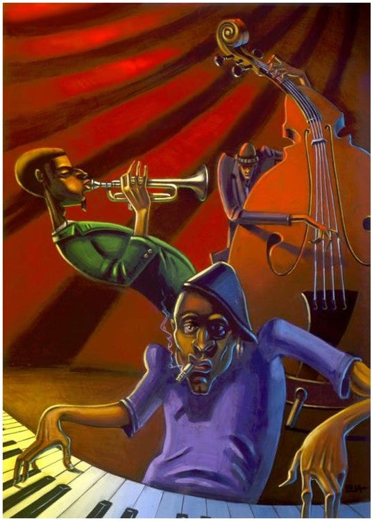 Jazz Trio - 12x18 giclee on canvas - Justin Bua
