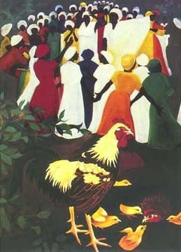 Chickens at Revival - limited edition print - Bernard Hoyes