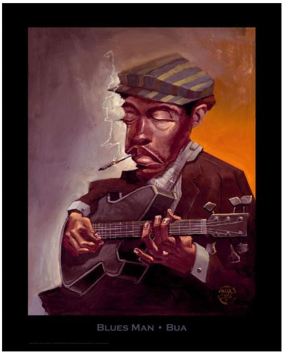 1b2add85663 Blues Man - 30x24 print - Justin Bua – It s A Black Thang.com