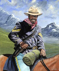 Buffalo Soldier On Patrol - 24x18 - limited edition print - John W. Jones