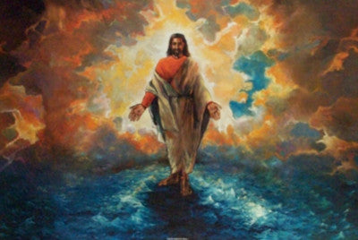 And He Walked On Water - 24x36 - print - Katherine Roundtree