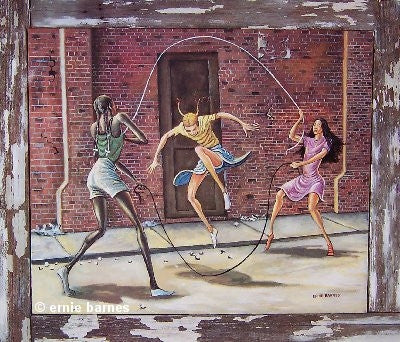 Double Dutch - 16x19 signed print - Ernie Barnes