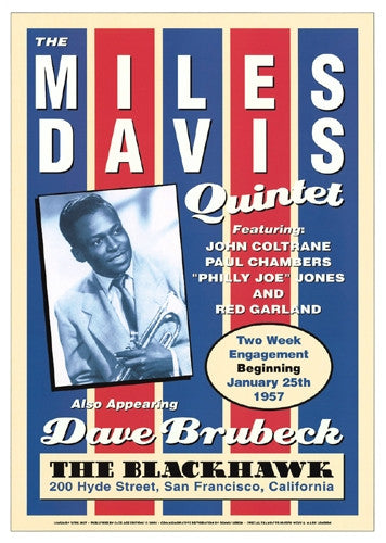 Miles Davis Quintet at the Blackhawk 1957 - 24x27 - concert poster