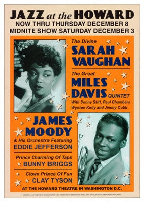 Sarah Vaughan And Miles Davis Jazz at the Howard 1960 - 24x17 - concert poster