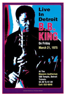B.B. King Masonic Auditorium Live in Detroit 1974 - 19x13 - concert poster