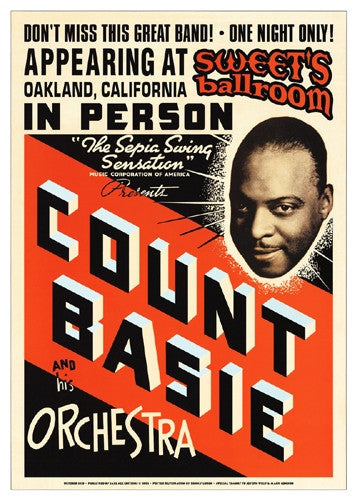 Count Basie Sweets Ballroom Oakland 1939 - 24x17 - concert poster