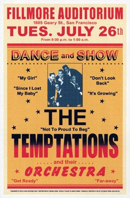 The Temptations Fillmore 1966 - 23x15 - concert poster
