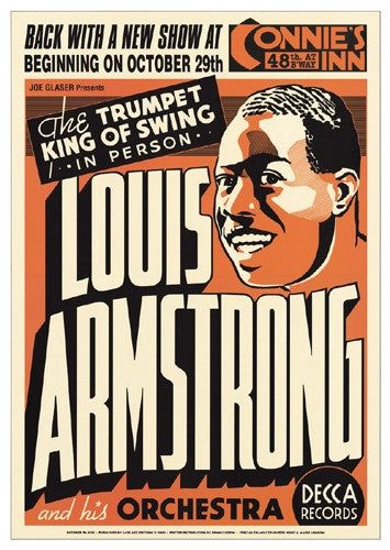Louis Armstrong Connies Inn NYC 1935 - 24x17 - concert poster