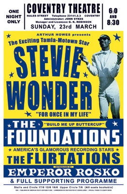 Stevie Wonder Coventry England 1969 - 23x15 - concert poster